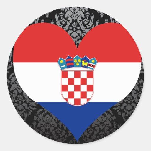 kaufen sie kroatien flagge runder aufkleber zazzle. Black Bedroom Furniture Sets. Home Design Ideas
