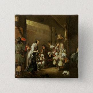 Kavaliere und Begleiter, die in einer Scheune Quadratischer Button 5,1 Cm