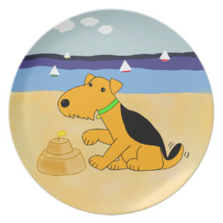 Kawaii Airedale Terrier Hund an der Strand-Platte Melaminteller