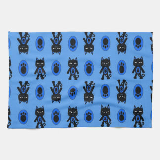 Kawaii blaue Katzen-und Tatzen-Druck-Muster Geschirrtuch