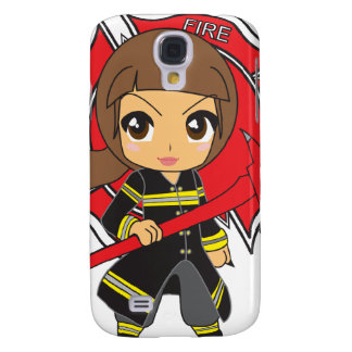 Kawaii brünettes Feuerwehrmann-Mädchen - Galaxy S4 Hülle