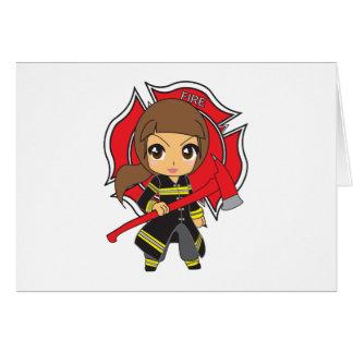 Kawaii brünettes Feuerwehrmann-Mädchen Karte