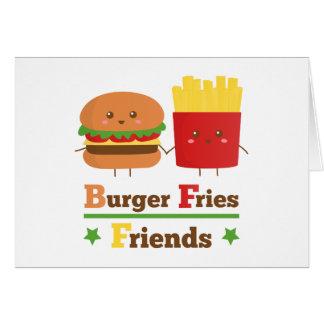 Kawaii Cartoon-Burger brät Freunde BESTE FREUNDIN Karte