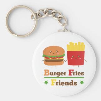 Kawaii Cartoon-Burger brät Freunde BESTE FREUNDIN Standard Runder Schlüsselanhänger