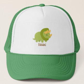 Kawaii Cartoon des grünen und gelben Triceratops Truckerkappe