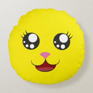 Kawaii Gelb-Lächeln | behält ruhiges rundes Rundes Kissen