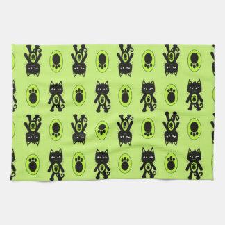 Kawaii grünes Katzen-und Tatzen-Druck-Muster Küchentuch