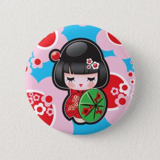 Kawaii japanischer Puppen-Knopf Runder Button 5,7 Cm