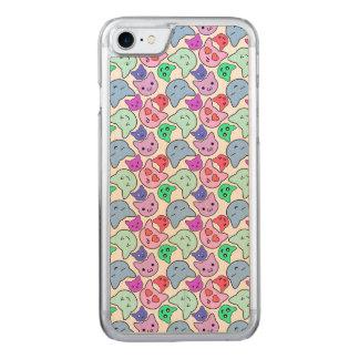 Kawaii Katzen-Gesichts-Muster Carved iPhone 7 Hülle