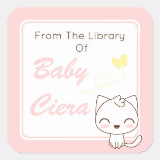 Kawaii Katzen-Girly Buchzeichen Quadratischer Aufkleber