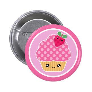 Kawaii Kuchen-Erdbeere Runder Button 5,1 Cm