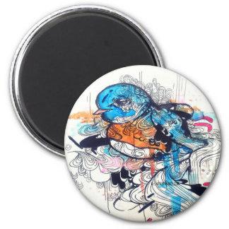 Kawaii kunst-Aquarellkunst blauen Vogels Tier Runder Magnet 5,1 Cm