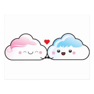 Kawaii Liebe-Wolken Postkarte