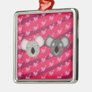 Kawaii lustige Koala Quadratisches Silberfarbenes Ornament