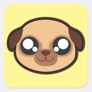 Kawaii lustiger Hundequadrataufkleber Quadratischer Aufkleber