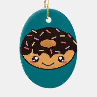 Kawaii lustiger und cooler Krapfen Keramik Ornament