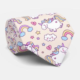 Kawaii molliges Fliegen-Einhorn-Regenbogenmuster Personalisierte Krawatten