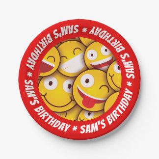 Kawaii niedlicher smiley Emoji Emoticon-Geburtstag Pappteller