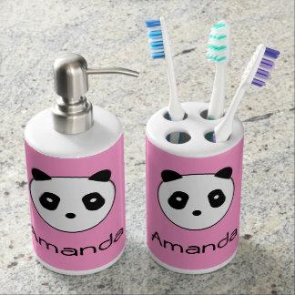 Kawaii ~ niedliches Panda-Gesicht Seifenspender & Zahnbürstenhalter