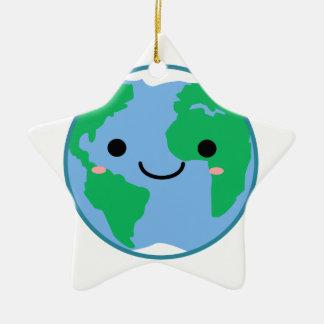 Kawaii Planeten-Erde Keramik Stern-Ornament
