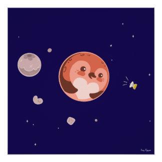 Kawaii Pluto Pinguin-Planet und Monde Poster