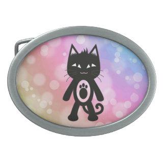 Kawaii Regenbogen und schwarze Katze Ovale Gürtelschnalle