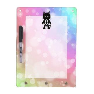 Kawaii Regenbogen und schwarze Katze Trockenlöschtafel