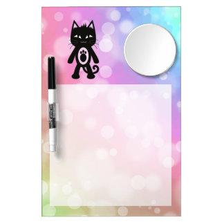 Kawaii Regenbogen und schwarze Katze Trockenlöschtafel Mit Spiegel