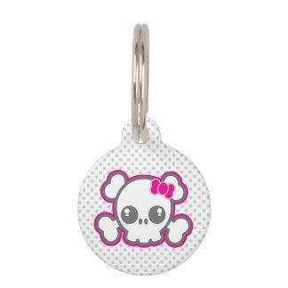 Kawaii rosa Band-Schädel-Erkennungsmarke Haustiermarke