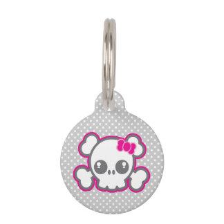 Kawaii rosa Band-Schädel-Erkennungsmarke Tiermarke