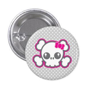 Kawaii rosa Band-Schädel-Knopf Button