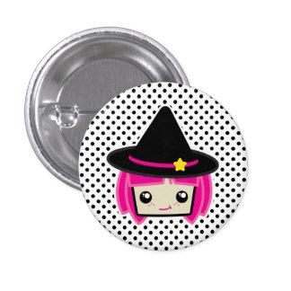 Kawaii rosa behaarter Hexe-Knopf Runder Button 2,5 Cm