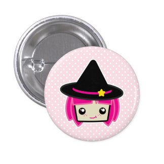 Kawaii rosa behaarter Hexe-Knopf Runder Button 3,2 Cm
