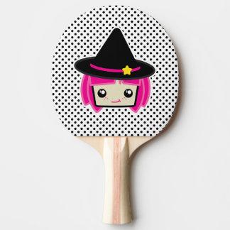 Kawaii rosa behaartes Hexe-Klingeln Pong Paddel Tischtennis Schläger