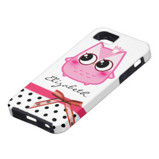Kawaii rosa Eule - personalisiert iPhone 5 Etui