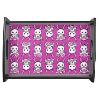 Kawaii rosa Häschen-Muster Tablett