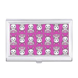 Kawaii rosa Häschen-Muster Visitenkarten Dose