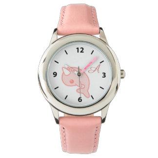 Kawaii rosa Narwhal Uhr