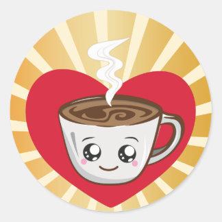Kawaii Schale Kaffee mit Liebe am Morgen Runder Aufkleber