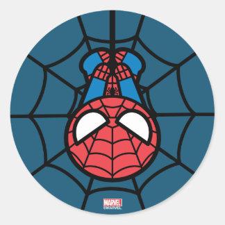 Kawaii Spider-Man Hängen umgedreht Runder Aufkleber