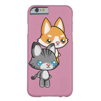 Kawaii stehende Katze und Hund Barely There iPhone 6 Hülle