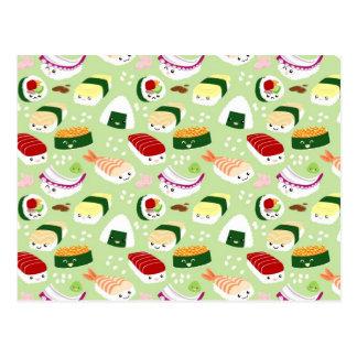 Kawaii Sushi mit Gesichtern Postkarte