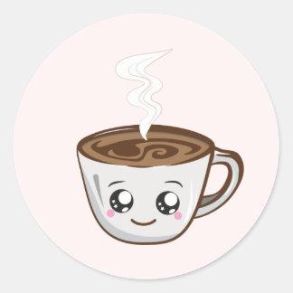 Kawaii Tasse Kaffee, Tee Runder Aufkleber