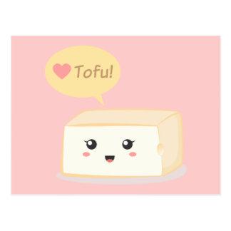 Kawaii Tofu, der Leute zum Liebetofu fragt Postkarte