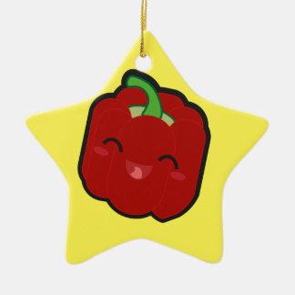 Kawaii und lustiger roter Pfeffer Keramik Stern-Ornament