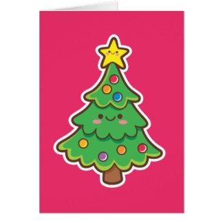 Kawaii Weihnachtsbaum Grußkarte