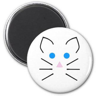 Kawaii weiße Mäuseblaue Augen-Cartoon-Mäuse Tier Runder Magnet 5,1 Cm