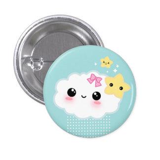 Kawaii Wolke und niedliche Sterne Runder Button 3,2 Cm