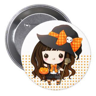 Kawaiii Halloween Hexe Runder Button 7,6 Cm