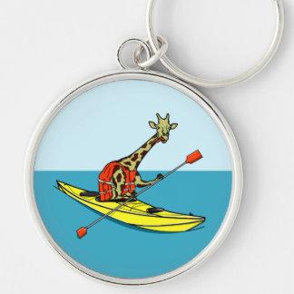 Kayaking Cartoongiraffenmeer Schlüsselanhänger
